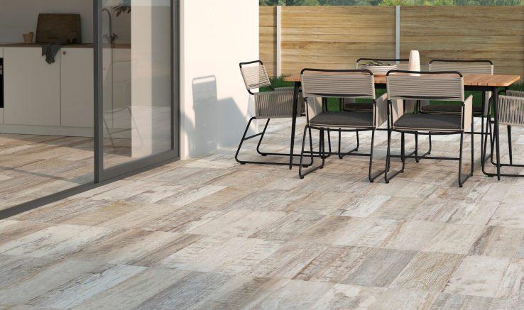 Terrazas con azulejos de madera estilo rústico