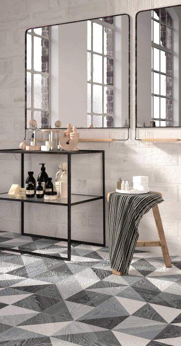 Baños modernos en blanco y negro con Melange Black