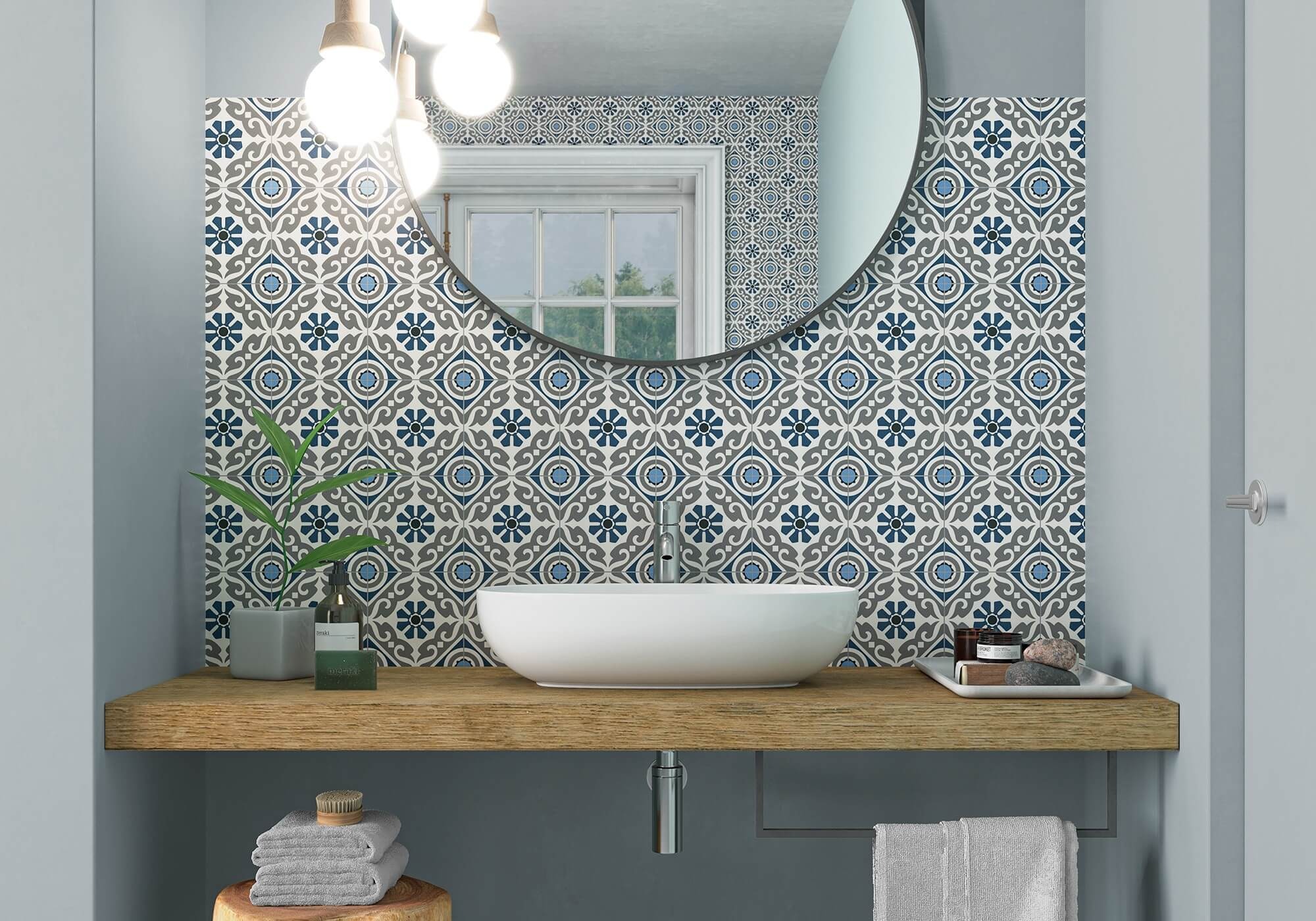 Musa Blue by Gayafores hydraulics porcelain tiles